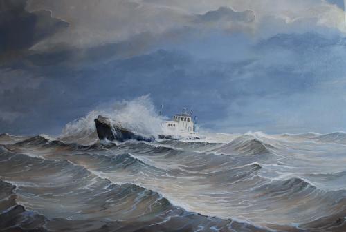 De woeste zee rond Vlieland de Stortemelk. Olieverf. 70 x ...